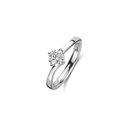 Solitaire - Twist ring met een ronde diamant