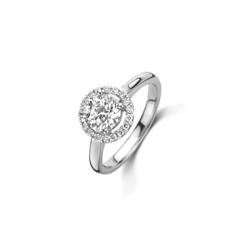 Brilliant cut solitaire halo ring