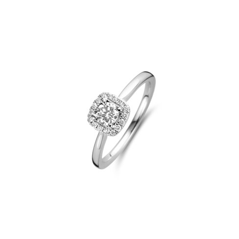 Brilliant cut solitaire halo cushion ring