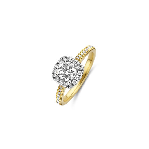 Brilliant cut solitaire cushion halo ring with side diamonds