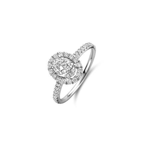 Ovaal geslepen solitaire halo ring met zijdiamanten