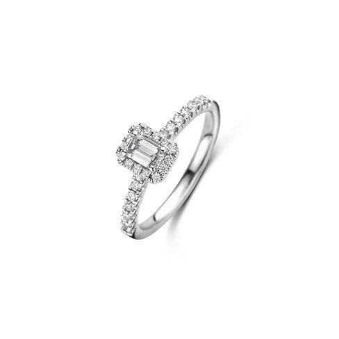 Emerald geslepen solitaire halo ring met zijdiamanten