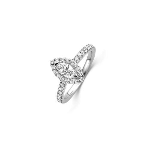 Marquise geslepen solitaire halo ring met zijdiamanten
