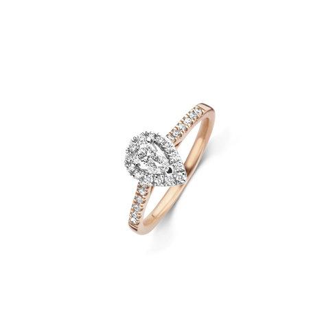 Peer geslepen solitaire halo ring met zijdiamanten