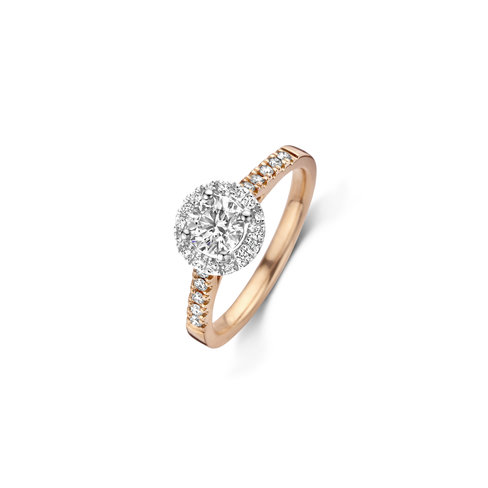Brilliant cut solitaire halo ring with side diamonds