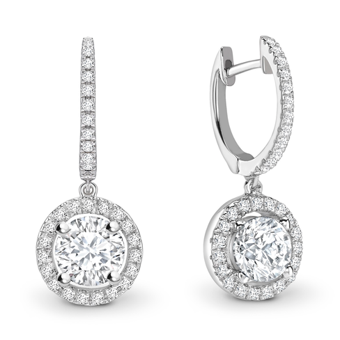 Brilliant cut halo solitaire earrings