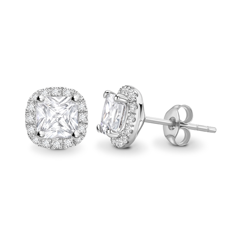 Cushion cut halo solitaire earrings