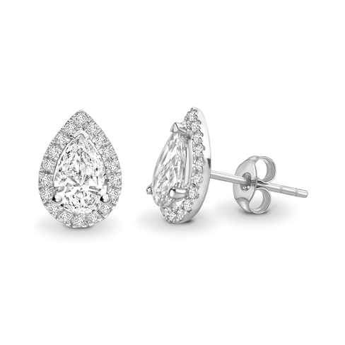 Pear cut halo solitaire earrings