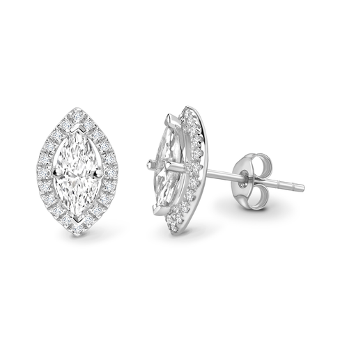 Marquise cut halo solitaire earrings