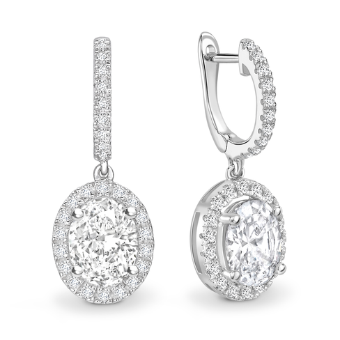 Oval cut halo solitaire earrings