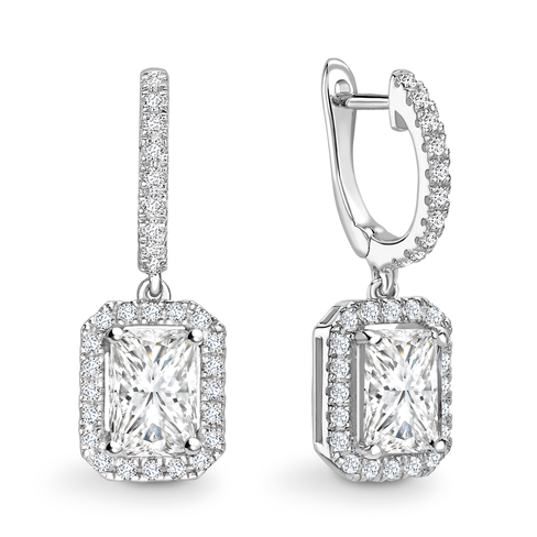 Radiant cut halo solitaire earrings