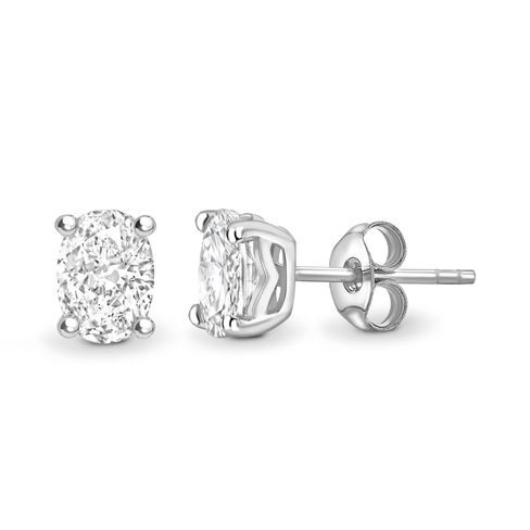 Oval cut solitaire earrings
