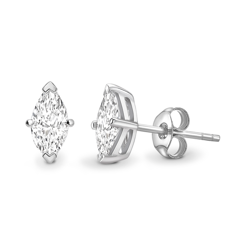 Boucles d'oreilles solitaires taille marquise