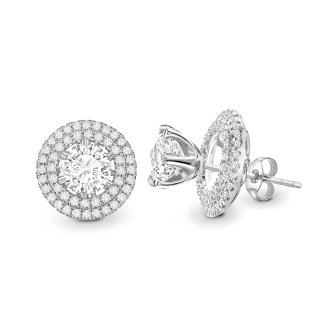 Brilliant cut double halo solitaire earrings